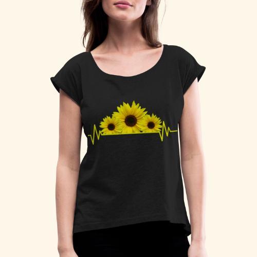Sonnenblumen Herzschlag Sonnenblume Blumen Blüten - Frauen T-Shirt mit gerollten Ärmeln