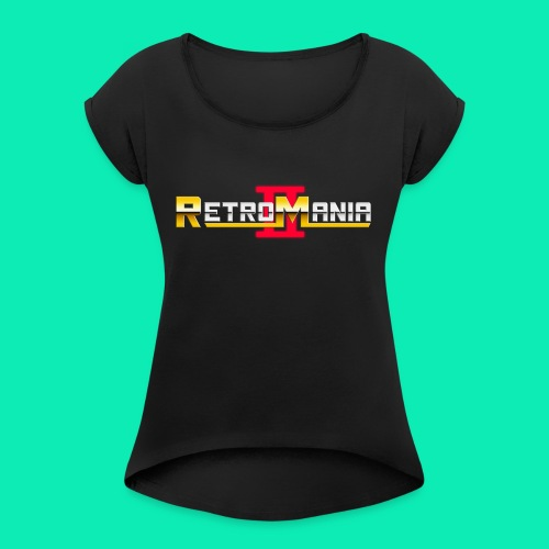 Retro Mania II - Logo - Frauen T-Shirt mit gerollten Ärmeln