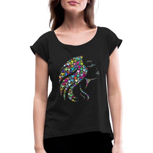 MonkeyShy femme avec cœurs multicolore - T-shirt à manches retroussées Femme