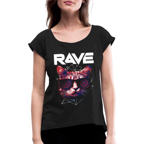 Ravecat - Frauen T-Shirt mit gerollten Ärmeln