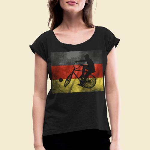 Radball | Flagge Deutschland - Frauen T-Shirt mit gerollten Ärmeln