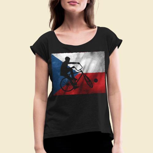 Radball   Flagge Tschechien - Frauen T-Shirt mit gerollten Ärmeln