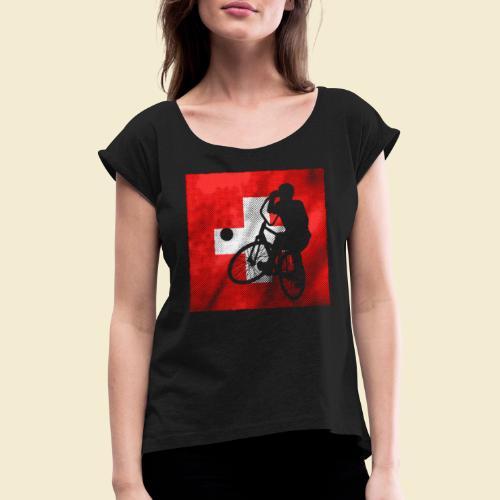 Radball | Flagge Schweiz - Frauen T-Shirt mit gerollten Ärmeln