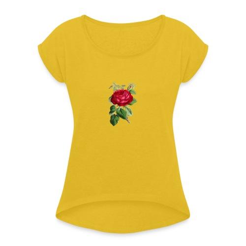 Fin ros - T-shirt med upprullade ärmar dam