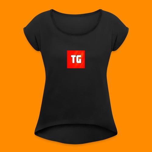T-Shirt Vrouwen met logo - Vrouwen T-shirt met opgerolde mouwen