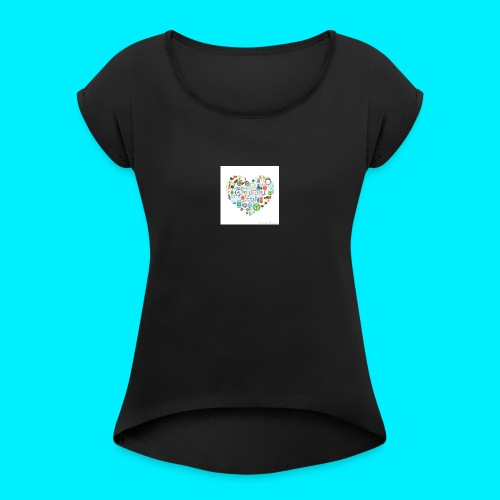 Heart image - Women's T-Shirt with rolled up sleeves