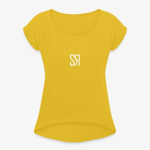 White badge (No Background) - Women's T-Shirt with rolled up sleeves