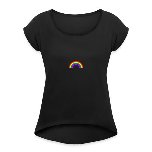 Plage Rainbow Tee - Vrouwen T-shirt met opgerolde mouwen