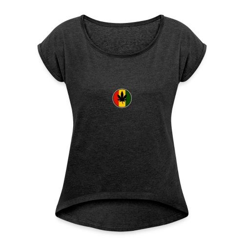 weed logo - Dame T-shirt med rulleærmer
