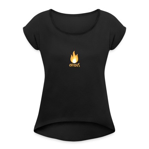 odious flame outlined - Vrouwen T-shirt met opgerolde mouwen