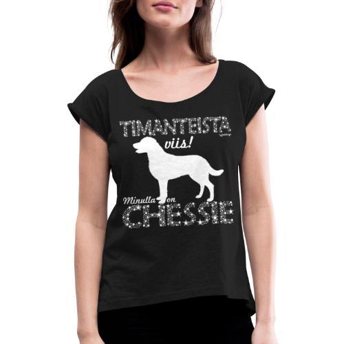 Chessie Timantti - Naisten T-paita, jossa rullatut hihat