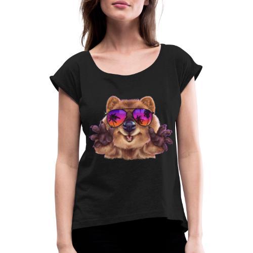 Cooler Quokka - Frauen T-Shirt mit gerollten Ärmeln