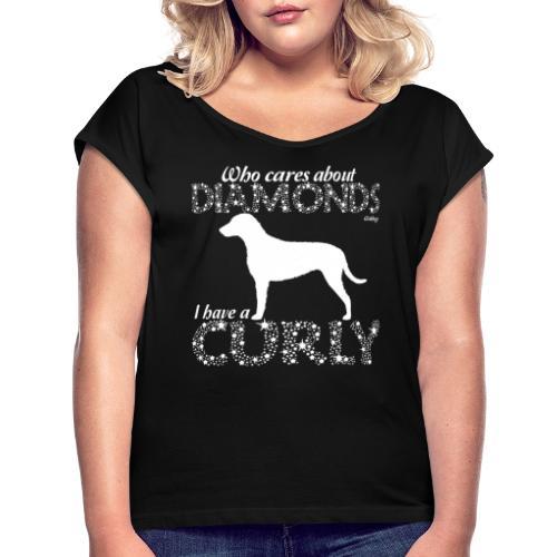Curly Diamonds - Naisten T-paita, jossa rullatut hihat