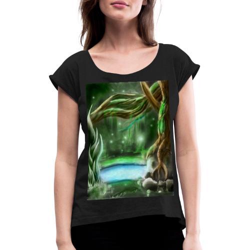 foret enchanté - T-shirt à manches retroussées Femme