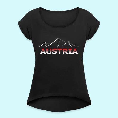 Austria - Österreich Berge T-Shirt - Frauen T-Shirt mit gerollten Ärmeln
