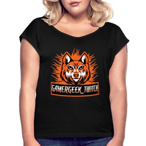 GamerGeek Logo XXXL - Frauen T-Shirt mit gerollten Ärmeln