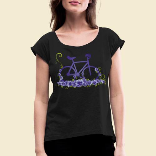 Kunstrad | Flower Power - Frauen T-Shirt mit gerollten Ärmeln