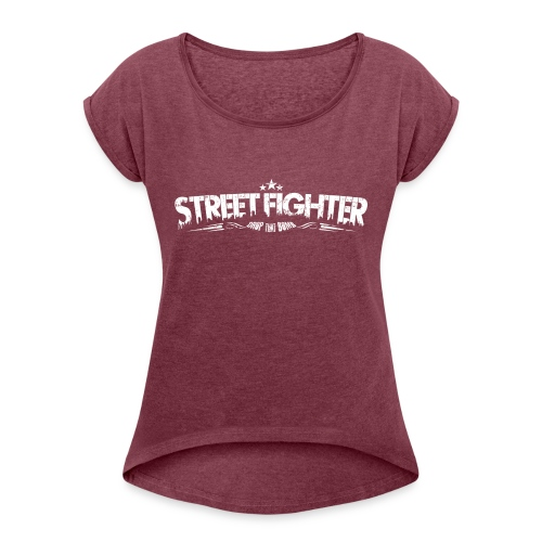 SF Letter Logo (white) - Frauen T-Shirt mit gerollten Ärmeln
