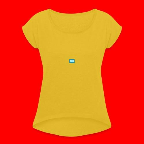 pd Blue - Dame T-shirt med rulleærmer