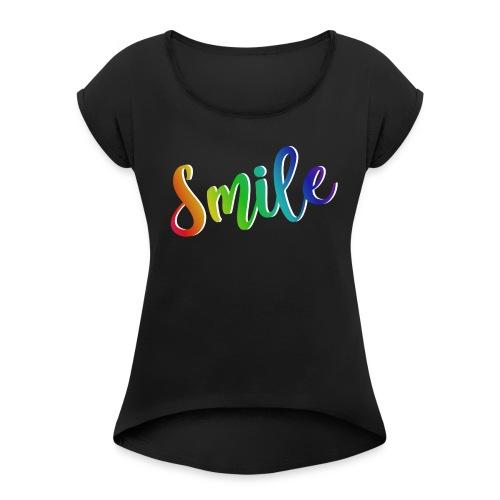 smile - Camiseta con manga enrollada mujer