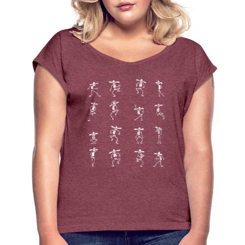 Skeleton Dance - Frauen T-Shirt mit gerollten Ärmeln