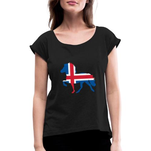 Island Pferd mit Flagge - Frauen T-Shirt mit gerollten Ärmeln