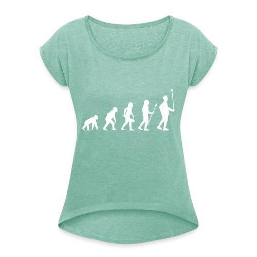 Evolution Stabführer weiß - Frauen T-Shirt mit gerollten Ärmeln