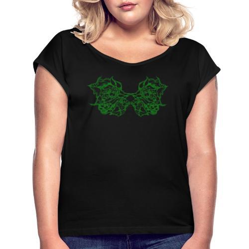 Grüne Spitzenflügel - Frauen T-Shirt mit gerollten Ärmeln