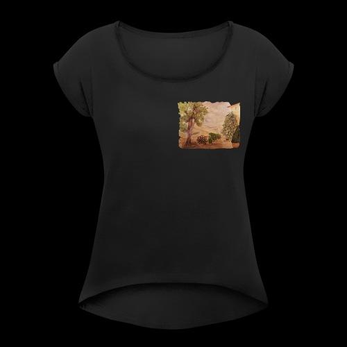 Hinterhof - Frauen T-Shirt mit gerollten Ärmeln