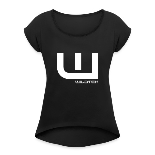 Wildtek Logo White - Women's T-Shirt with rolled up sleeves