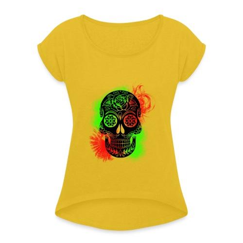 tete de mort - T-shirt à manches retroussées Femme