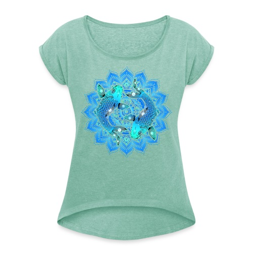 Asian Pond Carp - Koi Fish Mandala 1 - Frauen T-Shirt mit gerollten Ärmeln