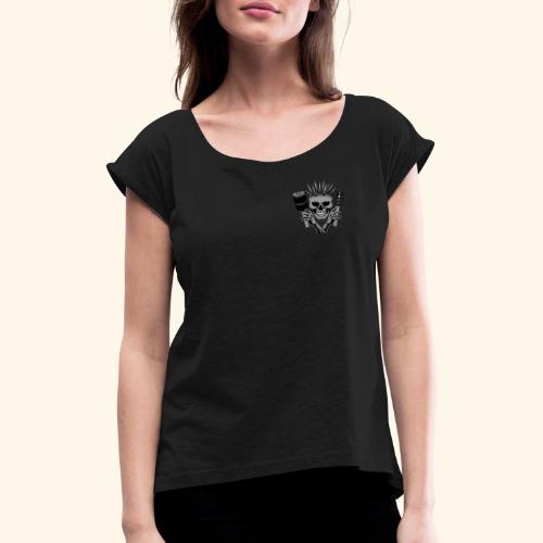 Air & Static Totenkopf - Frauen T-Shirt mit gerollten Ärmeln