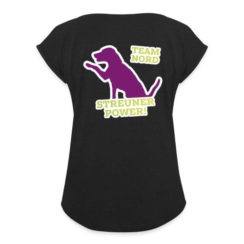 Streunerglück TEAM Hund pink - Frauen T-Shirt mit gerollten Ärmeln