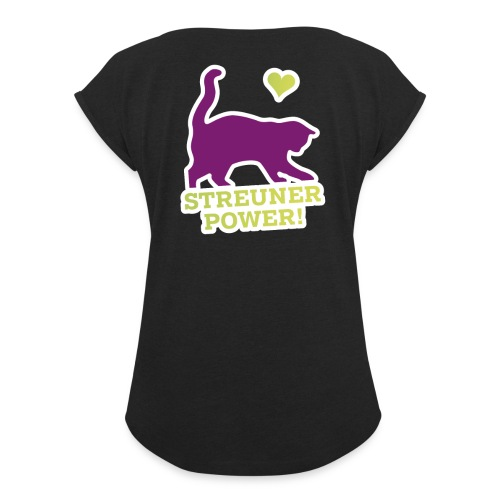 Streunerglück FAN Shirt Katze pink - Frauen T-Shirt mit gerollten Ärmeln