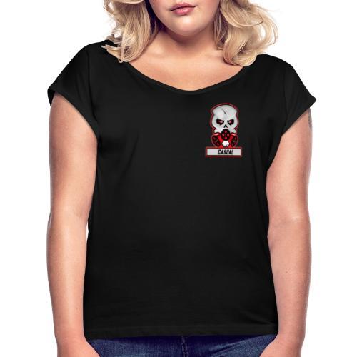 Casual-Gaming-Logo - Frauen T-Shirt mit gerollten Ärmeln