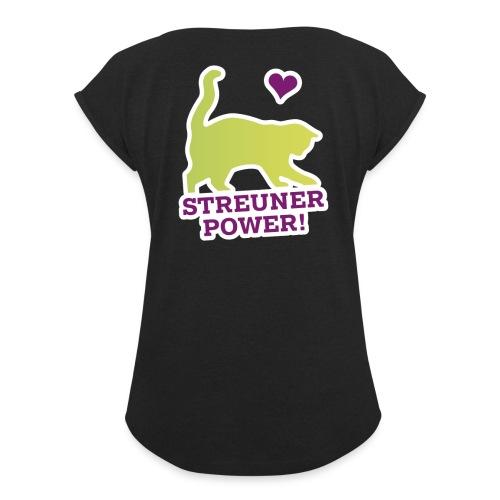 Streunerglück FAN Shirt Katze grün - Frauen T-Shirt mit gerollten Ärmeln