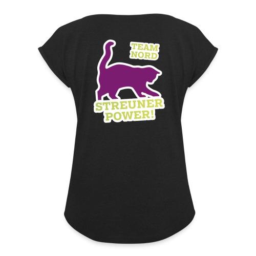 Streunerglück TEAM Shirt Katze pink - Frauen T-Shirt mit gerollten Ärmeln