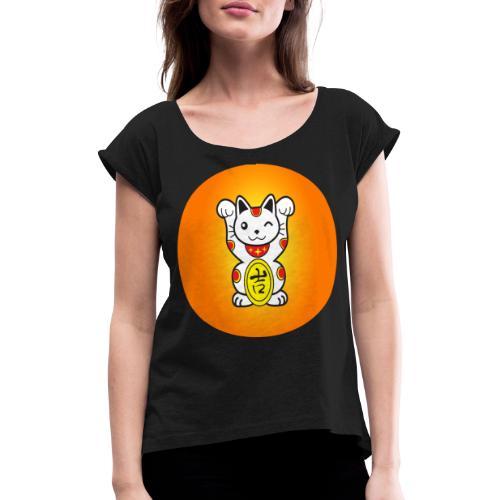 japanese cat - T-shirt à manches retroussées Femme