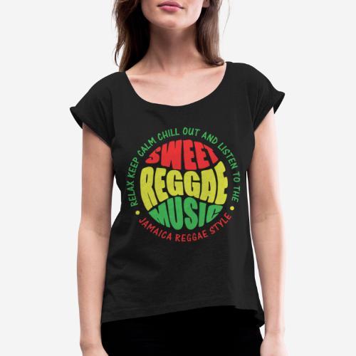 relax chill reggae music jamaica - Frauen T-Shirt mit gerollten Ärmeln