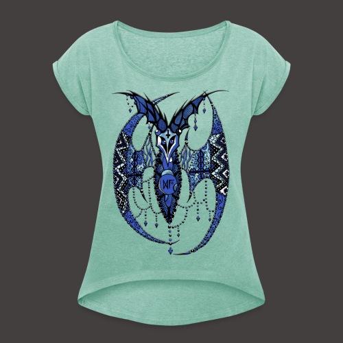 Chauve Souris Dentelle Bleue - T-shirt à manches retroussées Femme