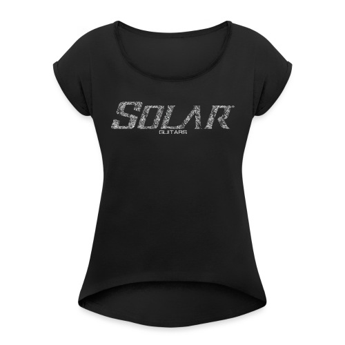 Solar Guitars Textured White - Women's T-Shirt with rolled up sleeves