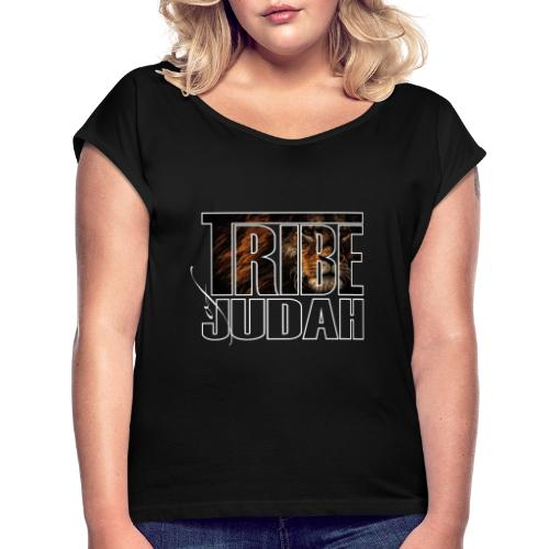 The Lion is of the Tribe of Judah Jesus - Frauen T-Shirt mit gerollten Ärmeln
