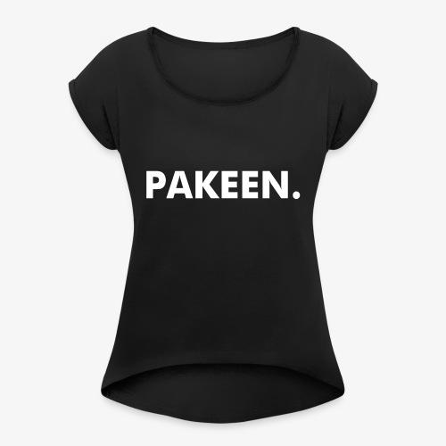 PAKEEN. Zwart - Vrouwen T-shirt met opgerolde mouwen