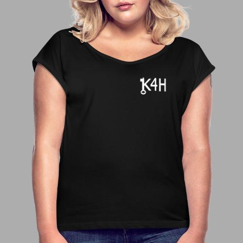 K4HText2White - T-shirt med upprullade ärmar dam