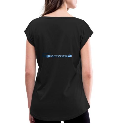 Logo schlicht beidseitig - Frauen T-Shirt mit gerollten Ärmeln