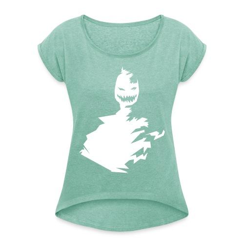 t-shirt monster (white/weiß) - Frauen T-Shirt mit gerollten Ärmeln