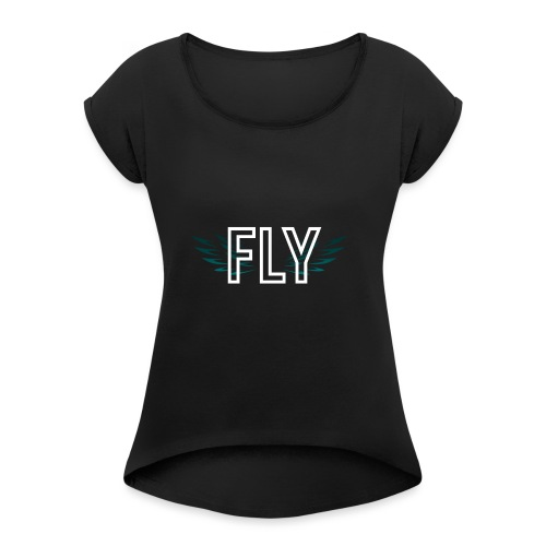 Wings Fly Design - Women's T-Shirt with rolled up sleeves