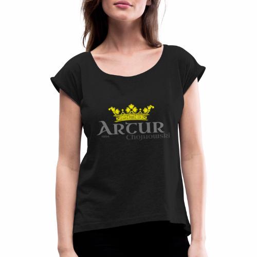 King A Store - Koszulka damska z lekko podwiniętymi rękawami