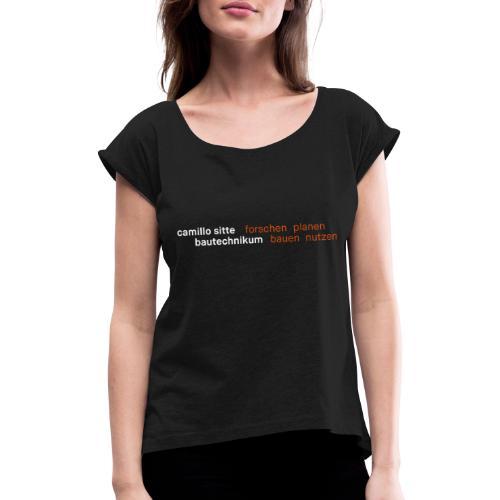 Black - Frauen T-Shirt mit gerollten Ärmeln